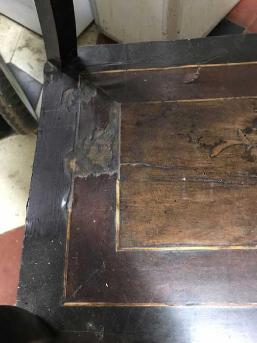 Restauration table Napoléon III restauration complète marquèterie LYON 7